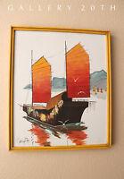 GORGEOUS! MID CENTURY MODERN ORIG OIL PAINTING! VTG SEA HARBOR ASIA BOAT ART 70S