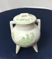 Hand Painted Porcelain Mini 3 Leg Pot w/Lid Made In Portugal #88.