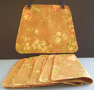 Floral Reversible Placemats Wedge Shaped Brown Muti Colored Flowers Set Of 6