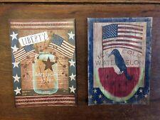 2 Primitive Americana Patriotic Crow Flag Liberty Beth Albert Laser Print 5x7