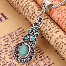 CH Tibetan Silver Blue Turquoise Chain Crystal Pendant Necklace Fashion Jewelry