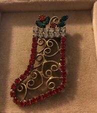 Vintage Gold Tone Filigree Stocking Rhinestone Brooch Christmas