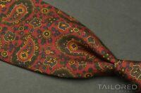 "HUNTSMAN Savile Row Red Paisley 100% Silk Mens Luxury Tie - 3.625"""