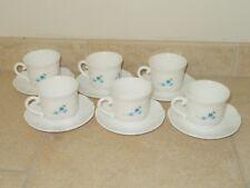 lot de 6 tasses + soucoupes ARCOPAL modèle myosotis vaisselle vintage