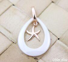 Star White Ceramic Tear Drop Pendant 925 Silver Pink Gold Hawaiian Starfish Sea