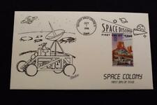 HAND PAINTED COVER 1998 1ST DAY ISSUE SPACE COLONY MOON ROVER (1386)