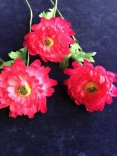 "Vintage Millinery Flower 2"" Fluffy Aster Hot Pink 3pc for Hat Wedding + Hair NY"
