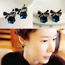 Jewelry Women Crystal Stud Earrings Bowknot Rhinestone