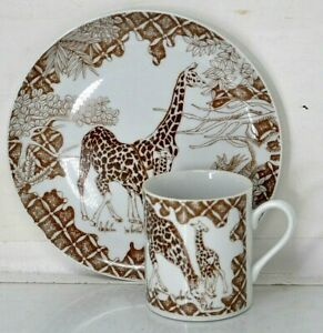 WILD HABITAT Collectors PLATE & MUG GIRAFFE Shafford Brown & White