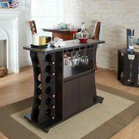 Wine Bar Storage Rack Cabinet Furniture Wooden Entertaining Portable Pub Bottle