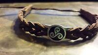Irish Pewter Brown Leather Triskele Woven Adjustable Bracelet