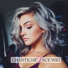 Ombre Gray Short Bob Lace Front Wigs Dark Roots Synthetic Hair Natural Wavy Wigs