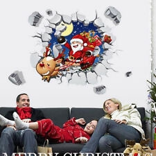 New Christmas Santa Claus Holiday Wall Decals Living Room Decor 3D Wall Stickers