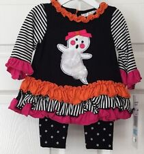 Rare Editions Baby Girl Halloween Flower Ghost Shirt - Legging Outfit 6M New Set