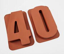 """Grandes de 12 """"de silicona número Moldes 40 Pastel Latas Tartera Cumpleaños 40º Molde"""