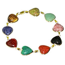 Handmade 14K Yellow Gold Heart Shaped Gemstone Scarab Bracelet 8 Inches
