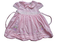 Baby Girls Cotton Party Dress Pink Yellow White 6 9 12 18 Months