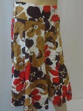 Ladies White/Brown/Red Flower Print LINEN Knee Length Skirt UK 8 EU 36