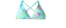 ROXY GIRLS LOGO CABBAGE HALTER BIKINI SWIM TOP BLUE SIZE 12 NEW!! $42