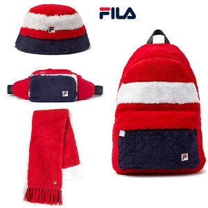 FILA Classic Red Blue White Sherpa Fleece Backpack Waistbag Scarf Bucket Hat