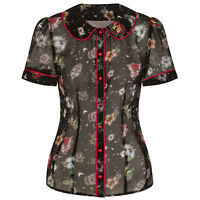 Hell Bunny Lovebird Chiffon Retro Vintage Rockabilly Tattoo Print Blouse Top