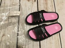 ACU Women's Massaging Comfort Slides Sandals Black Pink 85913 US Sz 8.5 EU 39