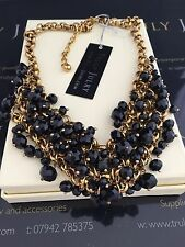 Designer Gold/black Heavy Chunky Bead Statement Necklace - Gift Packaged