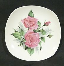Johnson Australia Sovereign Pottery,SIDE PLATE ,PINK ROSES, ROUNDED SQUARE SHAPE