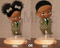 Pre Cut Designer Suit Afro Boss Baby Girl Boy Centerpiece with Stand OR Cutout