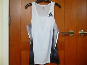 Men's Adidas Adizero Singlet White/Black Small S