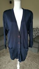 NWT Women's JH Collectibles Knit Button Front Pocket Dark Blue Cardigan size M