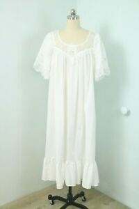 Vintage 80s Henson White Cotton Prairie Victorian Peignoir Lingerie Slip Dress S