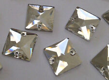10 Glass 16mm SEW/STITCH ON Clear SQUARE DIAMANTE Rhinestone Crystals