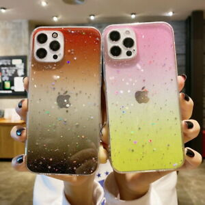 For iPhone 12 Pro Max 11 XR XS X 7 8 Clear Gradient Color Glitter TPU Case Cover