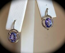 1.08CT TANZANITE EARRINGS 'CERTIFIED AA' 925 SILVER WITH PLATINUM OVERLAY BNWT