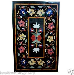 4'x2' Black Marble Dining Table Top Marquetry Inlay Floral Art Home Decors H506