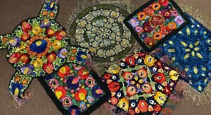 Lot of Old Hungarian Kalocsa Embroidery Embroidered Silk Textile Tapestry
