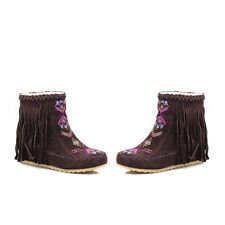 Fashion HOT Womens Boho Tassle Hidden Wedge Moccasin Ankle new Boots Shoes Sz