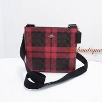NWT Coach F80057 Women Zip File Crossbody Bag Signature PVC Plaid Brown True Red