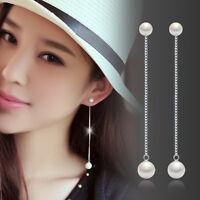 Pearl Drop Silver Long Chain Tassel Dangle Earrings Women's Fashion Jewelry