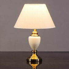 Malham Cream Ceramic and Antique Brass Traditional / Classic Table Lamp & Shade