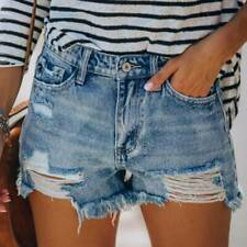 Womens Summer Denim Shorts Jeans Distressed Ripped Casual Autumn Hot Pants Sizes