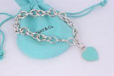 """Please Return to Tiffany & Co. Silver Blue Enamel Heart Charm 7.5"""" Bracelet"""