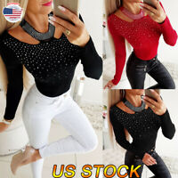 Women Sexy Slim Hollow V-neck Long Sleeve Tops Shirt Blouse Jumper Knitwear US