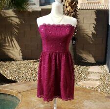 NEW Purple Pink Strapless Sparkle Glitter Lace Dress Size Juniors 11 / 12
