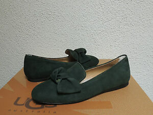 UGG COLLECTION LUNETTA BOW BOTTLE GREEN SUEDE LEATHER LOAFERS, US 7/ EUR 38 ~NEW