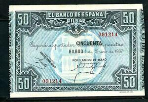 Spain CIvil War Bilbao (S564) 50 Pesetas 1937 VF+