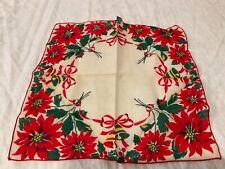 Vintage Hanky Handkerchief Hankie women's ladies red poinsettias Christmas bells