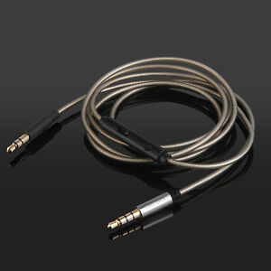 Silver Audio Cable with mic For Skullcandy Crusher Aviator Over-Ear Headphones