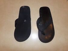 Mens  Black Faux Leather Flip Flops size 11